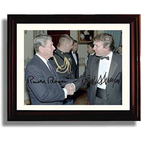 Framed Photo: Ronald Reagan and Donald Trump Autograph Replica Print