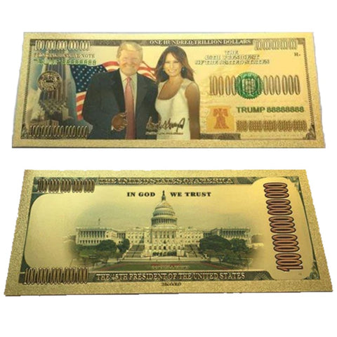 Image of FREE - Gold Plated Donald And Melania Trump Commemorative Bank Note In Currency Holder