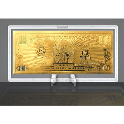 Image of Gold Million Dollar Bill Commemorative With Currency Stand