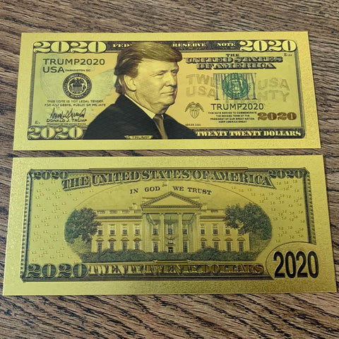 Gold Plated 2020 President Trump Re-Election Commemorative Bank Note In Currency Holder [Free Shipping!]