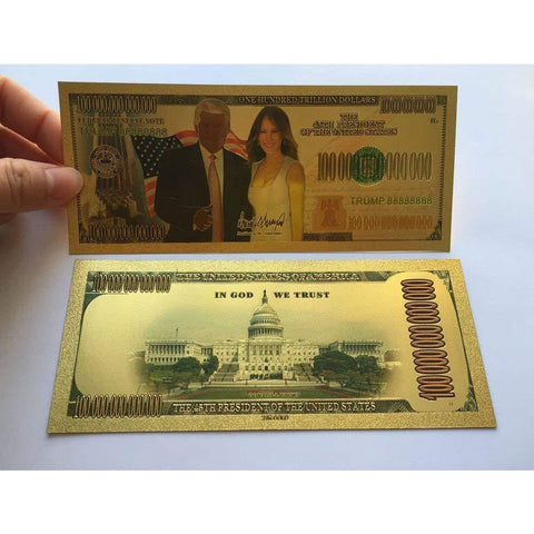 Image of Gold Plated Donald And Melania Trump Commemorative Bank Note In Currency Holder [Free Shipping!]