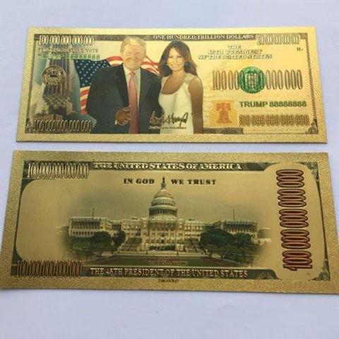 Gold Plated Donald And Melania Trump Commemorative Bank Note In Currency Holder [Free Shipping!]