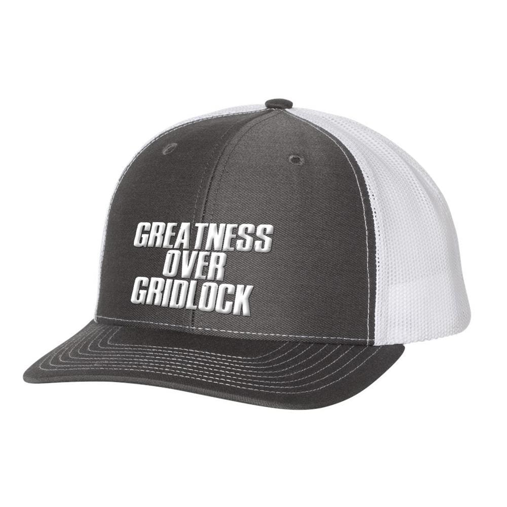Greatness Over Gridlock *MADE IN THE USA* Hat (Multiple Colors) - Charcoal & White