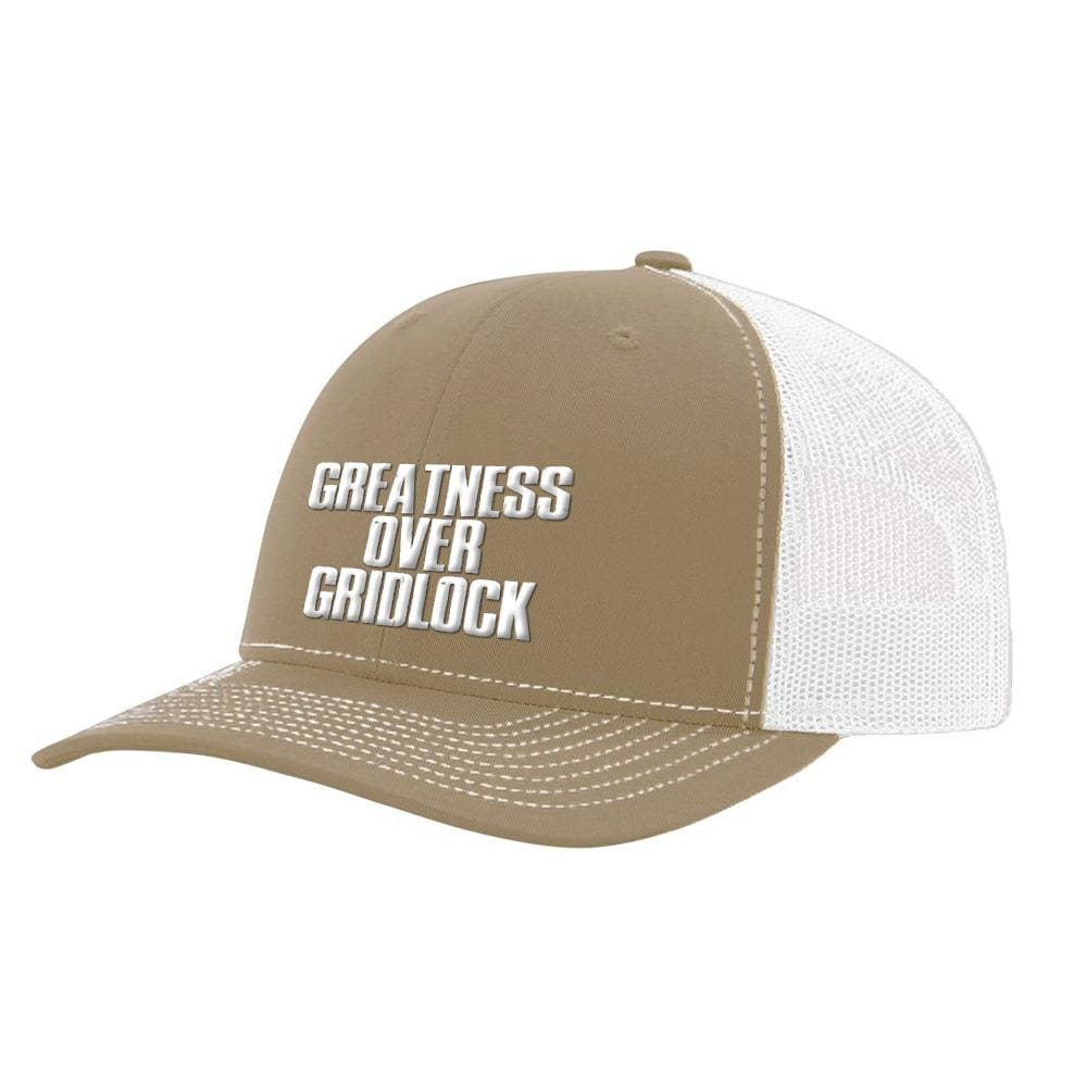 Greatness Over Gridlock *MADE IN THE USA* Hat (Multiple Colors) - Khaki & White