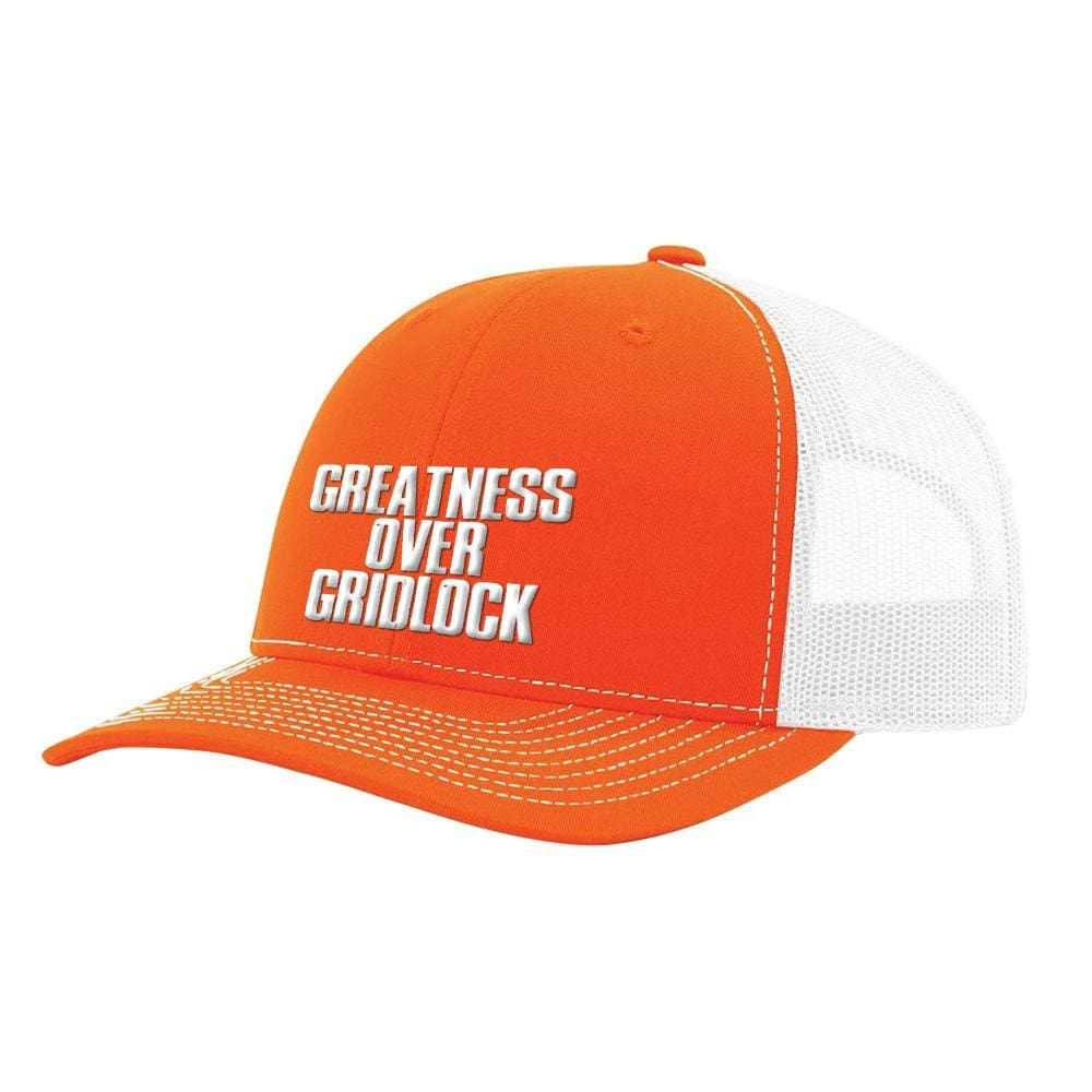 Greatness Over Gridlock *MADE IN THE USA* Hat (Multiple Colors) - Orange & White