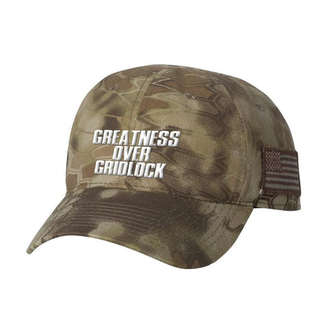 Image of Greatness Over Gridlock With American Flag Patch *MADE IN THE USA* Hat - Highlander