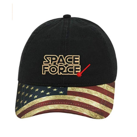 Hat: Space Force (Black USA Flag bill)