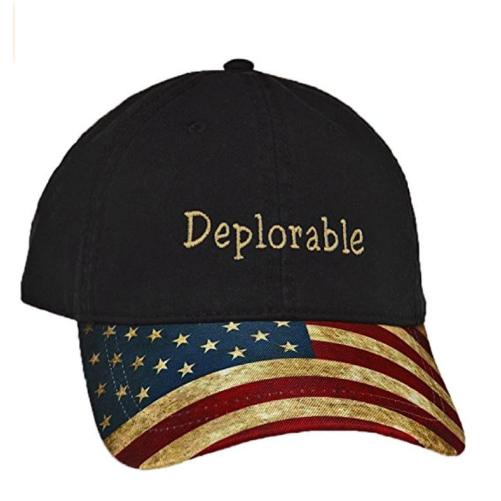Hat: USA Flag Bill - Deplorable (Black) - Headwear