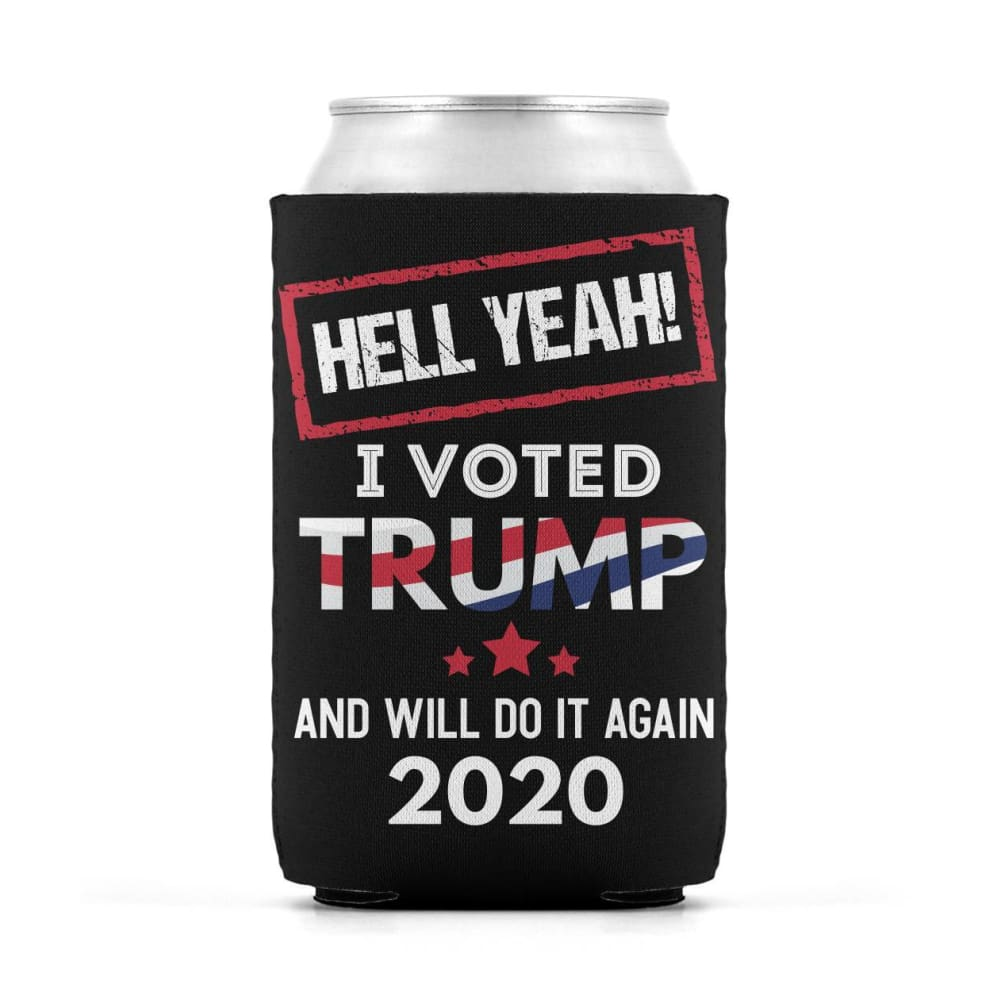 Hell Yeah I Voted For Trump Can Koozies - Black / M / Can Sleeve
