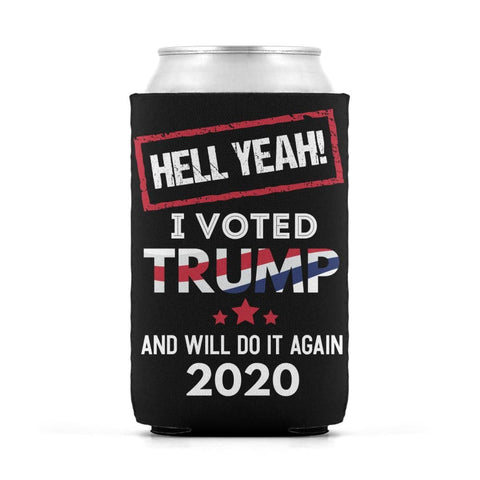 Image of Hell Yeah I Voted For Trump Can Koozies - Black / M / Can Sleeve