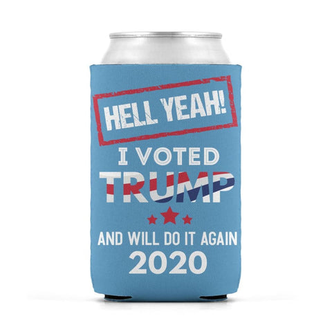 Image of Hell Yeah I Voted For Trump Can Koozies - Carolina Blue / M / Can Sleeve
