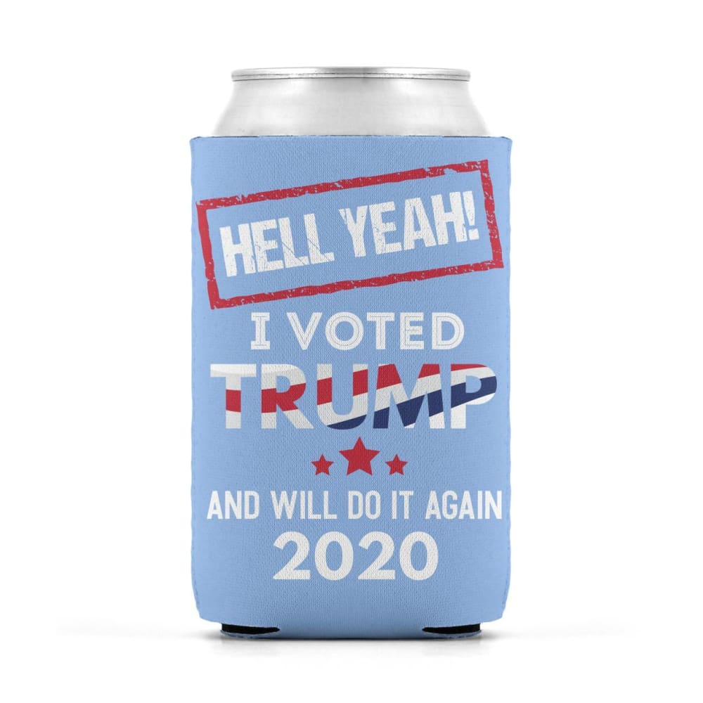 Hell Yeah I Voted For Trump Can Koozies - Light Blue / M / Can Sleeve
