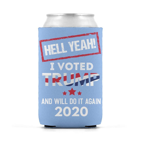 Image of Hell Yeah I Voted For Trump Can Koozies - Light Blue / M / Can Sleeve