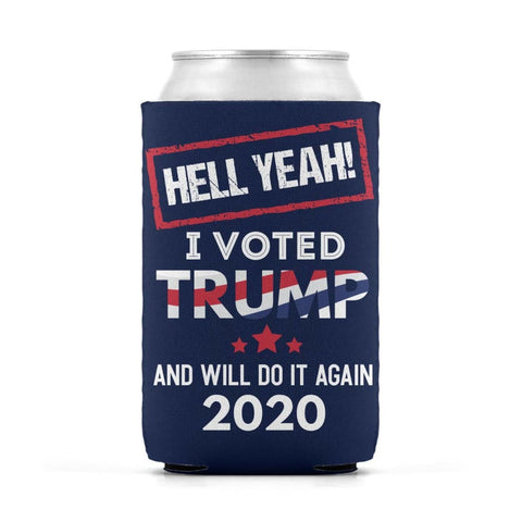Image of Hell Yeah I Voted For Trump Can Koozies - Navy / M / Can Sleeve