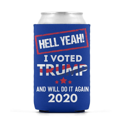 Image of Hell Yeah I Voted For Trump Can Koozies - Royal / M / Can Sleeve