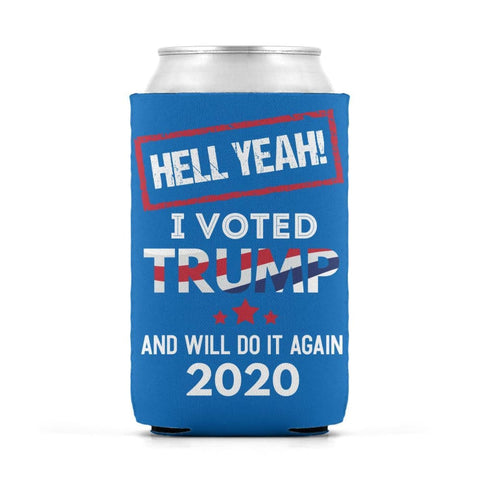 Image of Hell Yeah I Voted For Trump Can Koozies - Sapphire / M / Can Sleeve