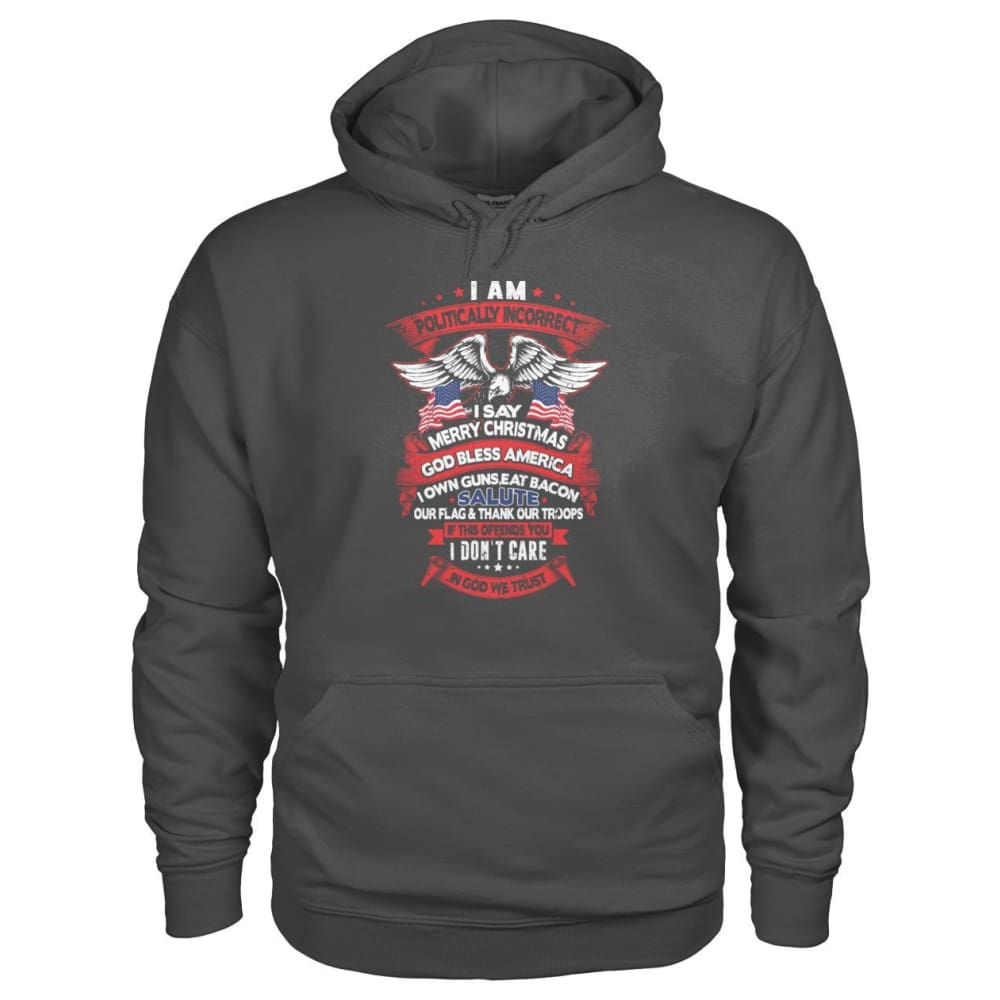 I Am Politically Incorrect Hoodie - Charcoal / S - Hoodies