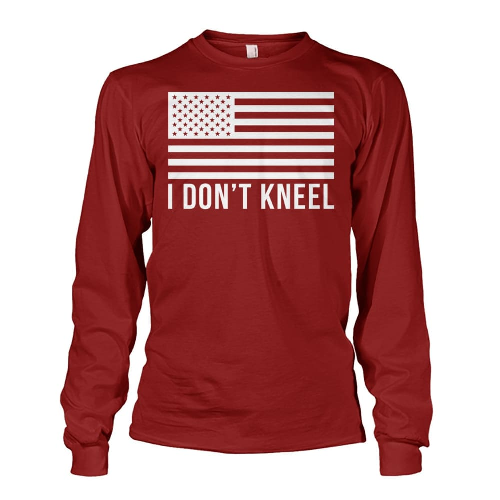 I Dont Kneel Long Sleeve Shirt - Cardinal Red / S / Unisex Long Sleeve