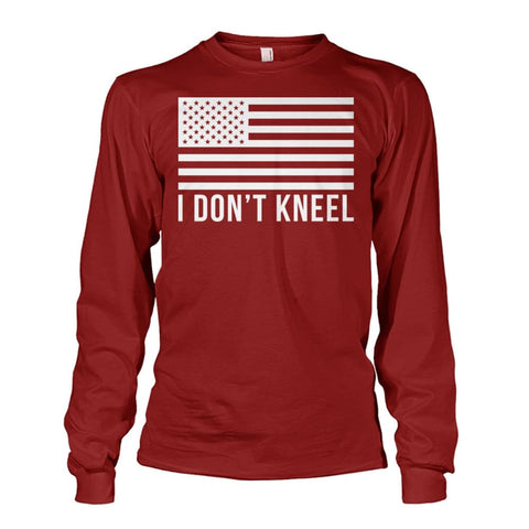 Image of I Dont Kneel Long Sleeve Shirt - Cardinal Red / S / Unisex Long Sleeve
