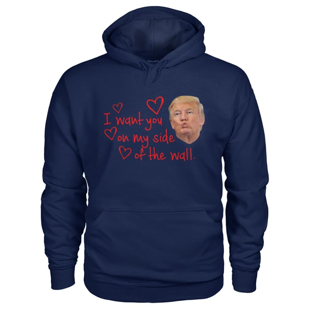 I Want You On My Side Of The Wall Hoodie - Navy / S - Hoodies