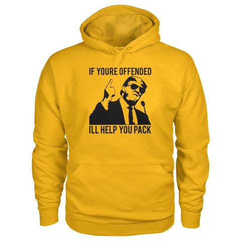 Image of Ill Help You Pack Trump Hoodie - Gold / S - Hoodies