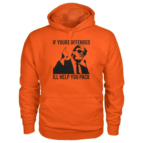 Image of Ill Help You Pack Trump Hoodie - Orange / S - Hoodies