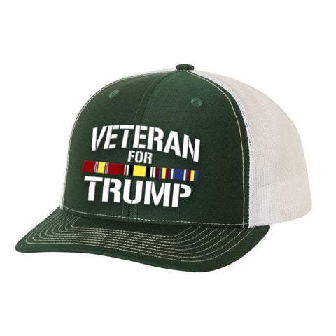 Iraq Veteran For Trump Trucker Hat - Charcoal & White - Hats