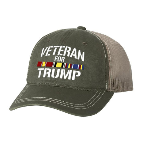 Iraq Veteran For Trump Weathered Hat - Olive - Hats