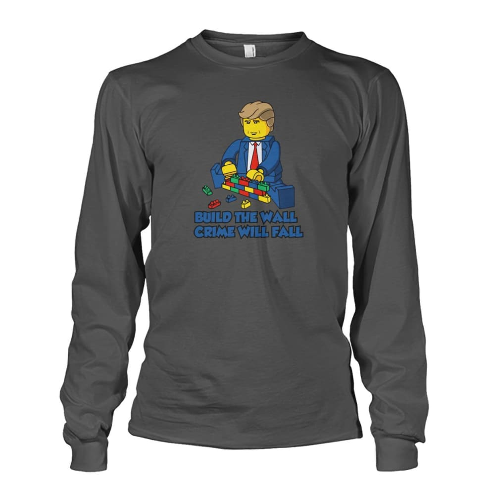 Lego Build The Wall Crime Will Fall Long Sleeve - Charcoal / S - Long Sleeves