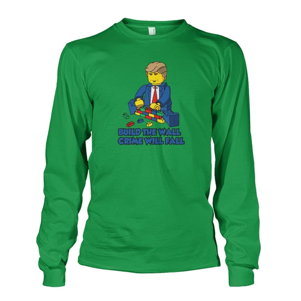 Lego Build The Wall Crime Will Fall Long Sleeve - Irish Green / S - Long Sleeves