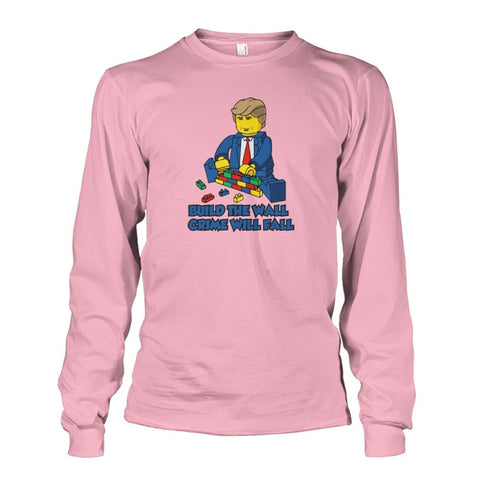 Image of Lego Build The Wall Crime Will Fall Long Sleeve - Light Pink / S - Long Sleeves