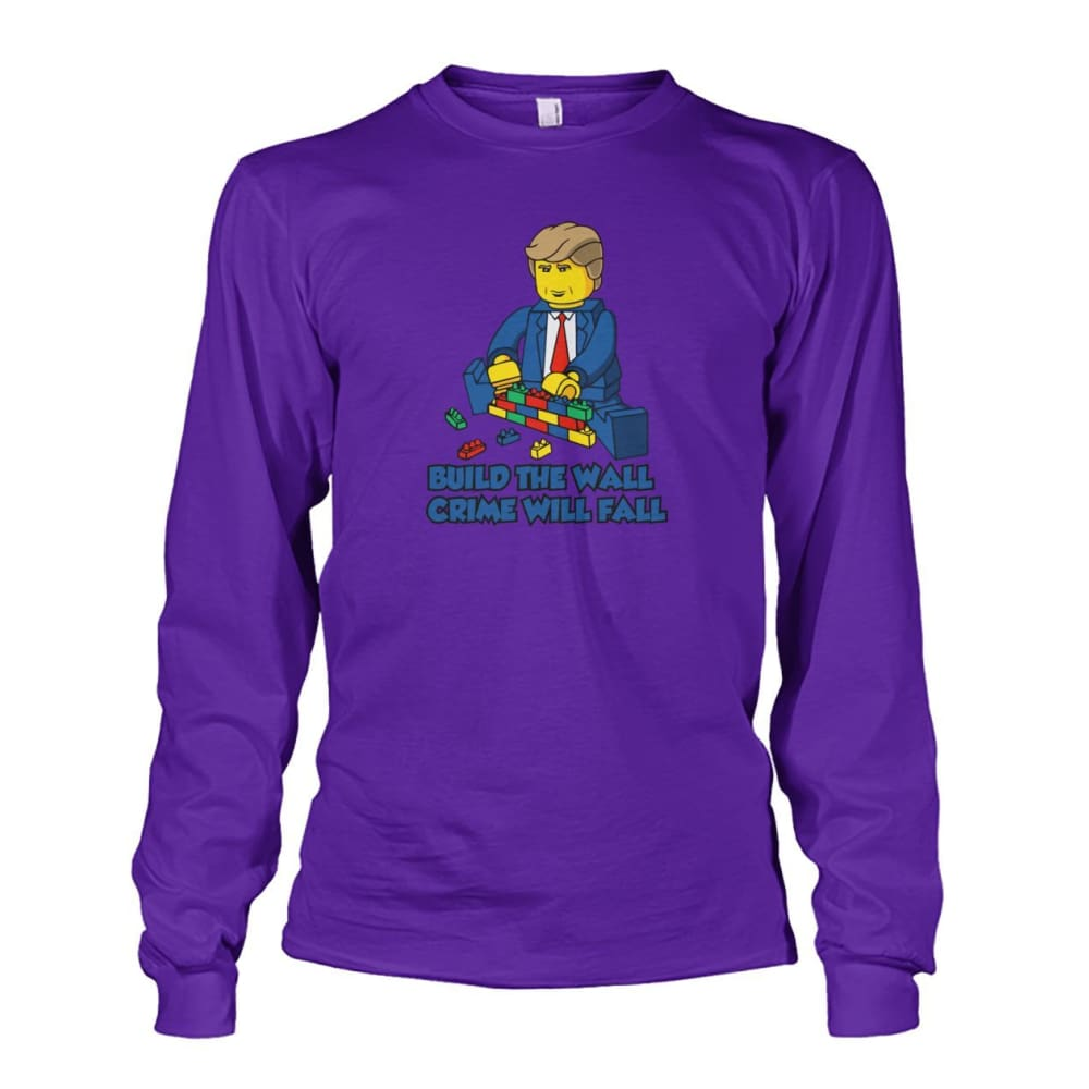 Lego Build The Wall Crime Will Fall Long Sleeve - Purple / S - Long Sleeves