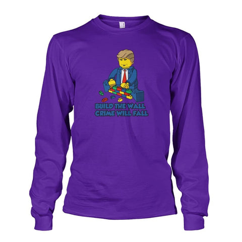 Image of Lego Build The Wall Crime Will Fall Long Sleeve - Purple / S - Long Sleeves