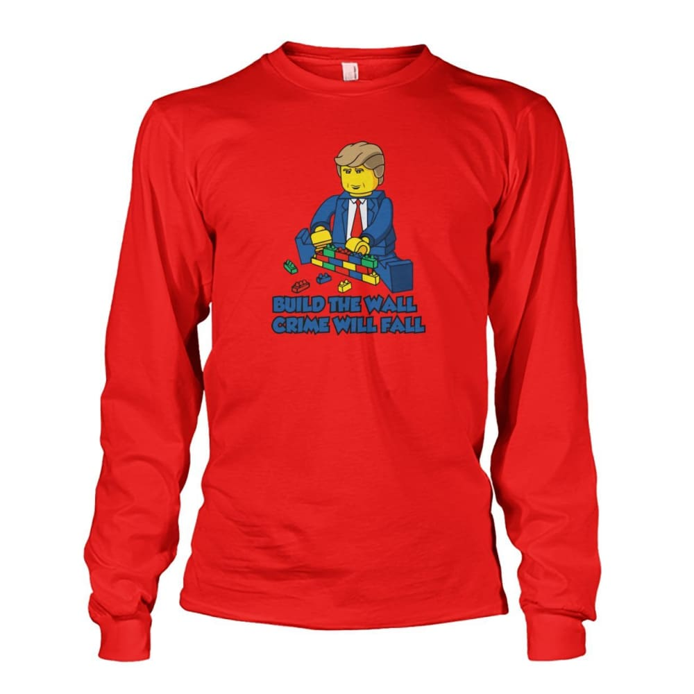 Lego Build The Wall Crime Will Fall Long Sleeve - Red / S - Long Sleeves