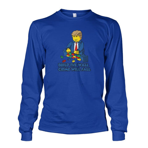 Image of Lego Build The Wall Crime Will Fall Long Sleeve - Royal / S - Long Sleeves