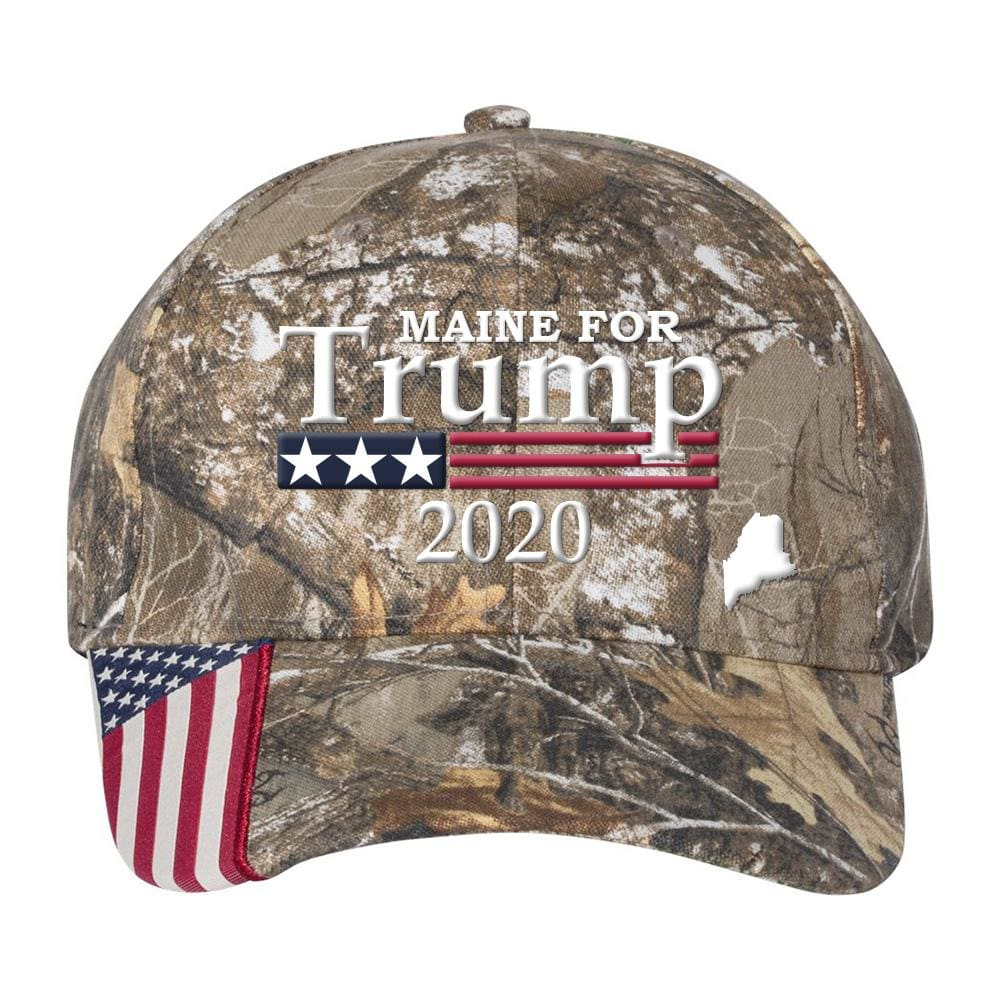 Maine For Trump 2020 Hat - Realtree Edge