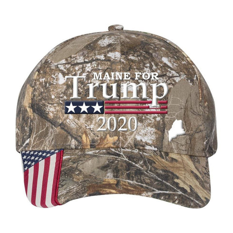 Image of Maine For Trump 2020 Hat - Realtree Edge