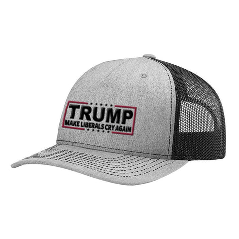Make Liberals Cry Again Trump Snapback Hat - Heather Grey & Black - Hats