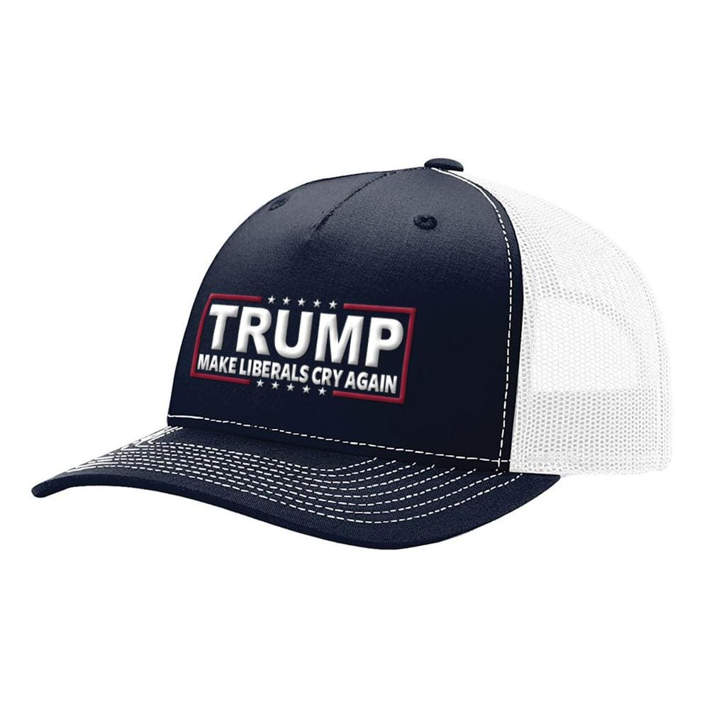 Make Liberals Cry Again Trump Snapback Hat - Navy & White - Hats
