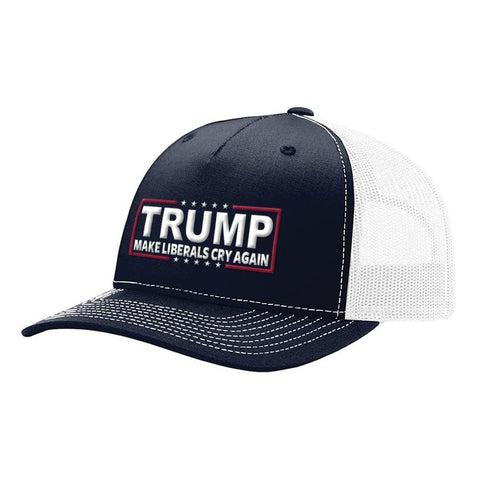 Image of Make Liberals Cry Again Trump Snapback Hat - Navy & White - Hats