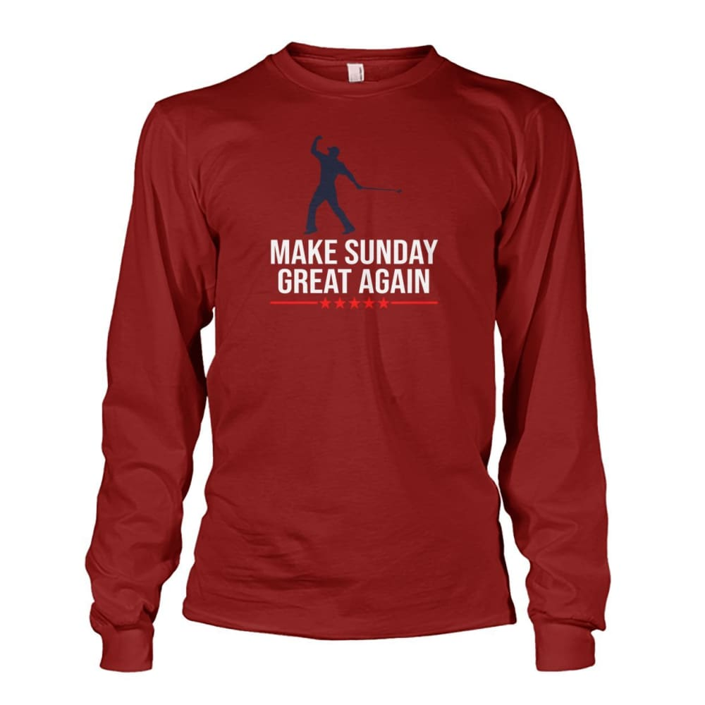 Make Sunday Great Again Long Sleeve - Cardinal Red / S - Long Sleeves