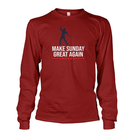 Image of Make Sunday Great Again Long Sleeve - Cardinal Red / S - Long Sleeves