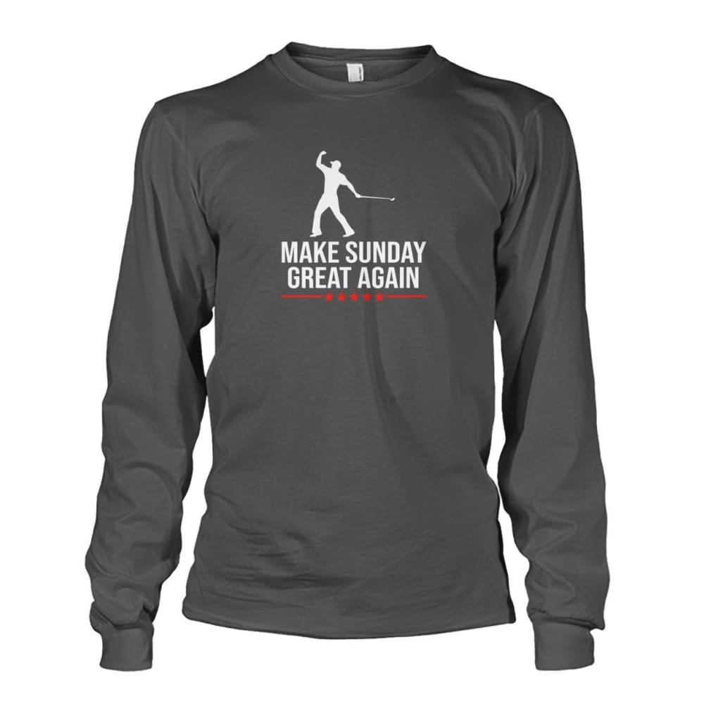 Make Sunday Great Again Long Sleeve - Charcoal / S - Long Sleeves
