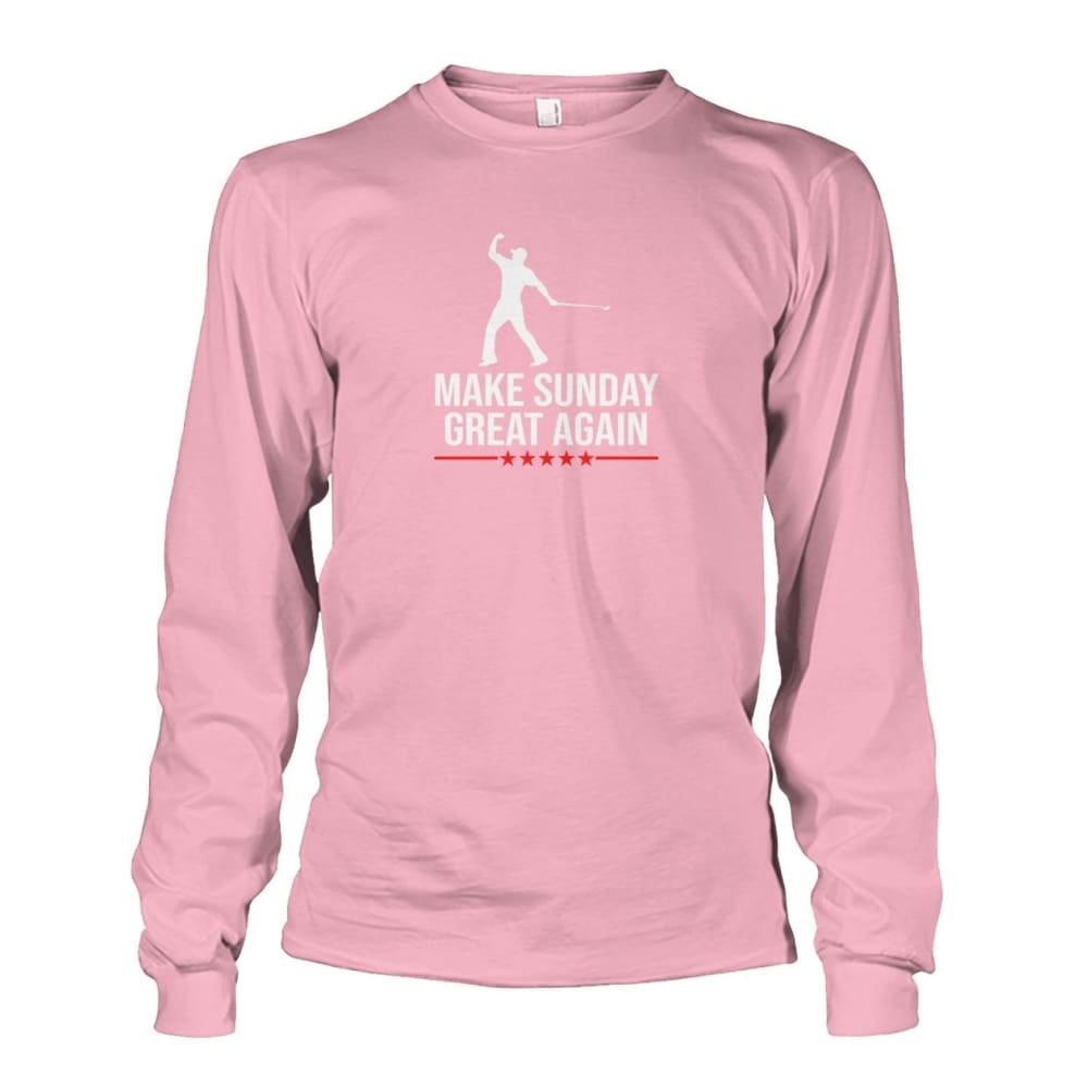 Make Sunday Great Again Long Sleeve - Light Pink / S - Long Sleeves
