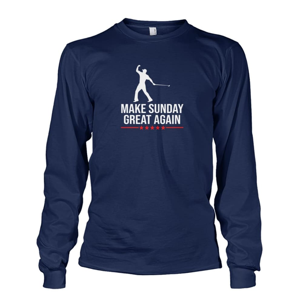 Make Sunday Great Again Long Sleeve - Navy / S - Long Sleeves