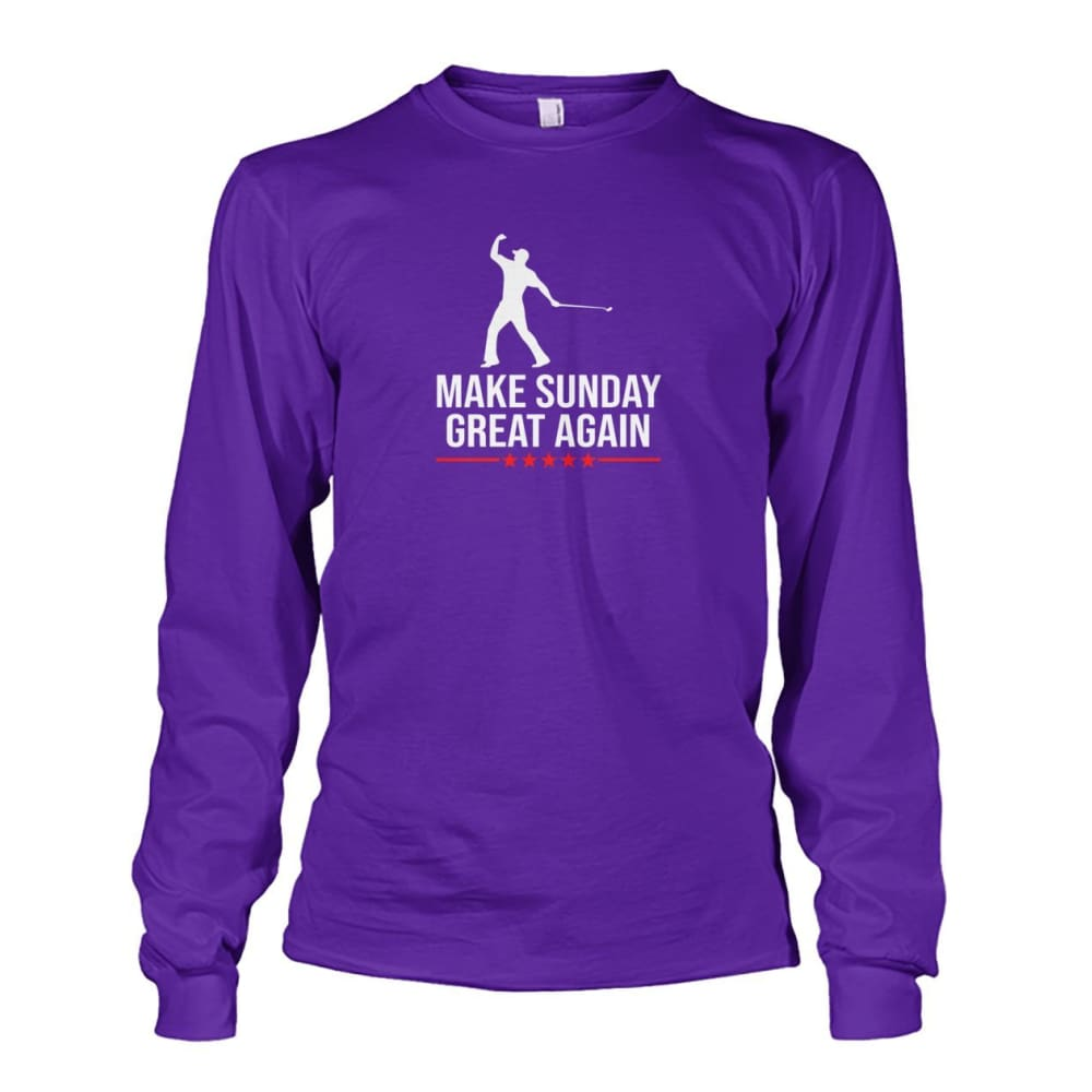 Make Sunday Great Again Long Sleeve - Purple / S - Long Sleeves