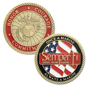 Marine Corps Gold Plated Challenge Coin - Coin