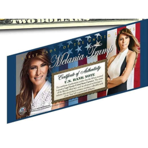Image of Melania Trump First Lady Genuine LEGAL TENDER US $2 Bill