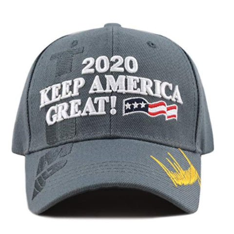New! 2020 Keep America Great 3D Cap With Trump Signature (Color Choices) - Grey