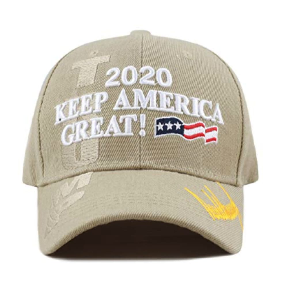 New! 2020 Keep America Great 3D Cap With Trump Signature (Color Choices) - Khaki